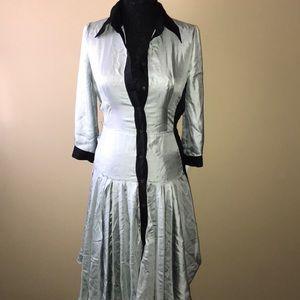 Prada button down shirt dress drop waist collar 40